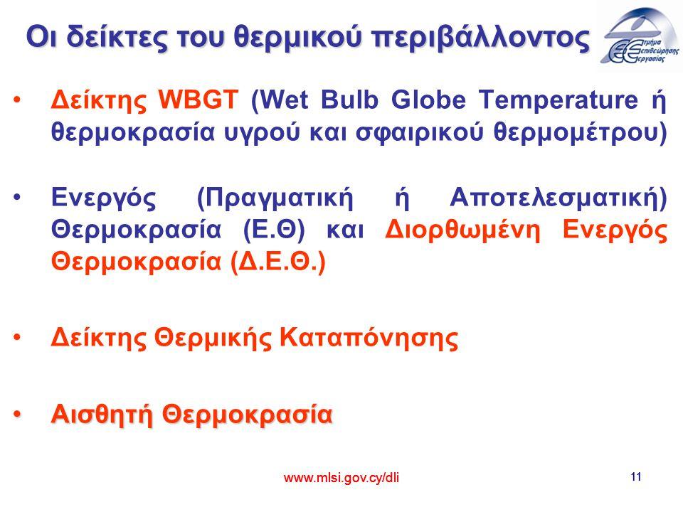 11 Δείκτης WBGT (Wet Bulb Globe Temperature ή θερμοκρασία υγρού και σφαιρικού θερμομέτρου) Ενεργός (Πραγματική ή Αποτελεσματική) Θερμοκρασία (Ε.Θ) και Διορθωμένη Ενεργός Θερμοκρασία (Δ.Ε.Θ.) Δείκτης Θερμικής Καταπόνησης Αισθητή ΘερμοκρασίαΑισθητή Θερμοκρασία www.mlsi.gov.cy/dli 11 www.mlsi.gov.cy/dli Οι δείκτες του θερμικού περιβάλλοντος