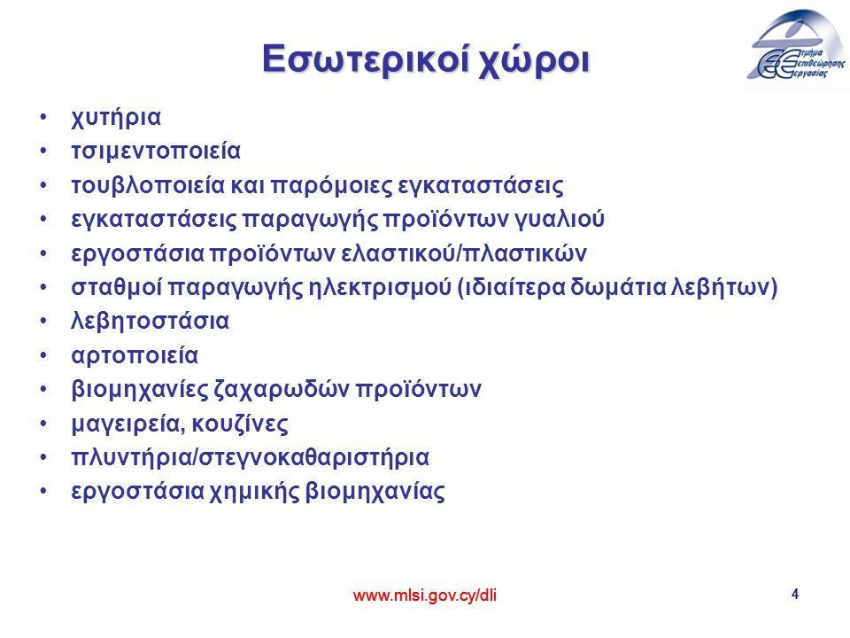5 Εξωτερικές εργασίες Οι υπαίθριες δραστηριότητες που εκτελούνται σε περίοδο ψηλών θερμοκρασιών, όπως: κατασκευαστικά έργα γεωργικές εργασίες αρχαιολογικές εκσκαφές απόθεση ή επεξεργασία αποβλήτων εργασίες σε μεταλλεία/λατομεία εργασίες σε λιμάνια www.mlsi.gov.cy/dli 5