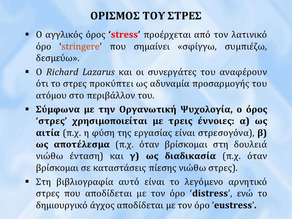 ΟΡΙΣΜΟΣ ΤΟΥ ΣΤΡΕΣ  Ο αγγλικός όρος 'stress' προέρχεται από τον λατινικό όρο 'stringere' που σημαίνει «σφίγγω, συμπιέζω, δεσμεύω».  Ο Richard Lazarus