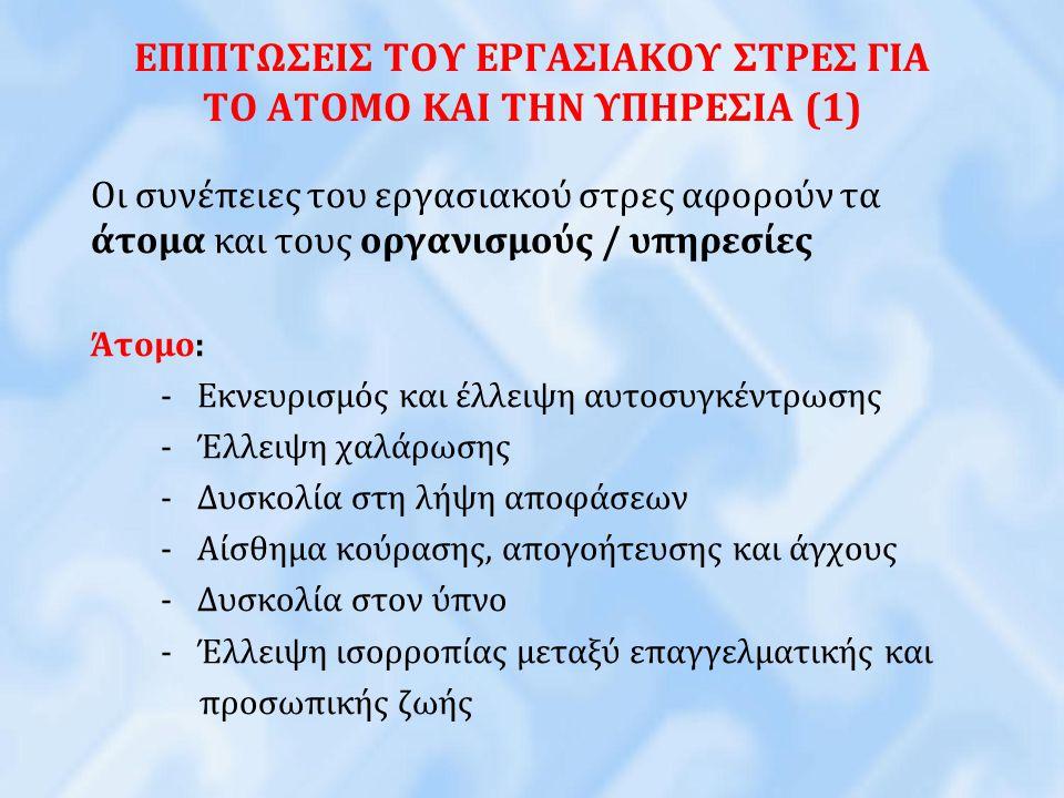 ΕΠΙΠΤΩΣΕΙΣ ΤΟΥ ΕΡΓΑΣΙΑΚΟΥ ΣΤΡΕΣ ΓΙΑ ΤΟ ΑΤΟΜΟ ΚΑΙ ΤΗΝ ΥΠΗΡΕΣΙΑ (1) Οι συνέπειες του εργασιακού στρες αφορούν τα άτομα και τους οργανισμούς / υπηρεσίες