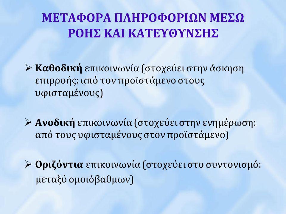 ΜΕΤΑΦΟΡΑ ΠΛΗΡΟΦΟΡΙΩΝ ΜΕΣΩ ΡΟΗΣ ΚΑΙ ΚΑΤΕΥΘΥΝΣΗΣ  Καθοδική επικοινωνία (στοχεύει στην άσκηση επιρροής: από τον προϊστάμενο στους υφισταμένους)  Ανοδικ