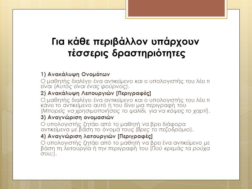 Για κάθε περιβάλλον υπάρχουν τέσσερις δραστηριότητες 1) Ανακάλυψη Ονομάτων Ο μαθητής διαλέγει ένα αντικείμενο και ο υπολογιστής του λέει τι είναι (Αυτ