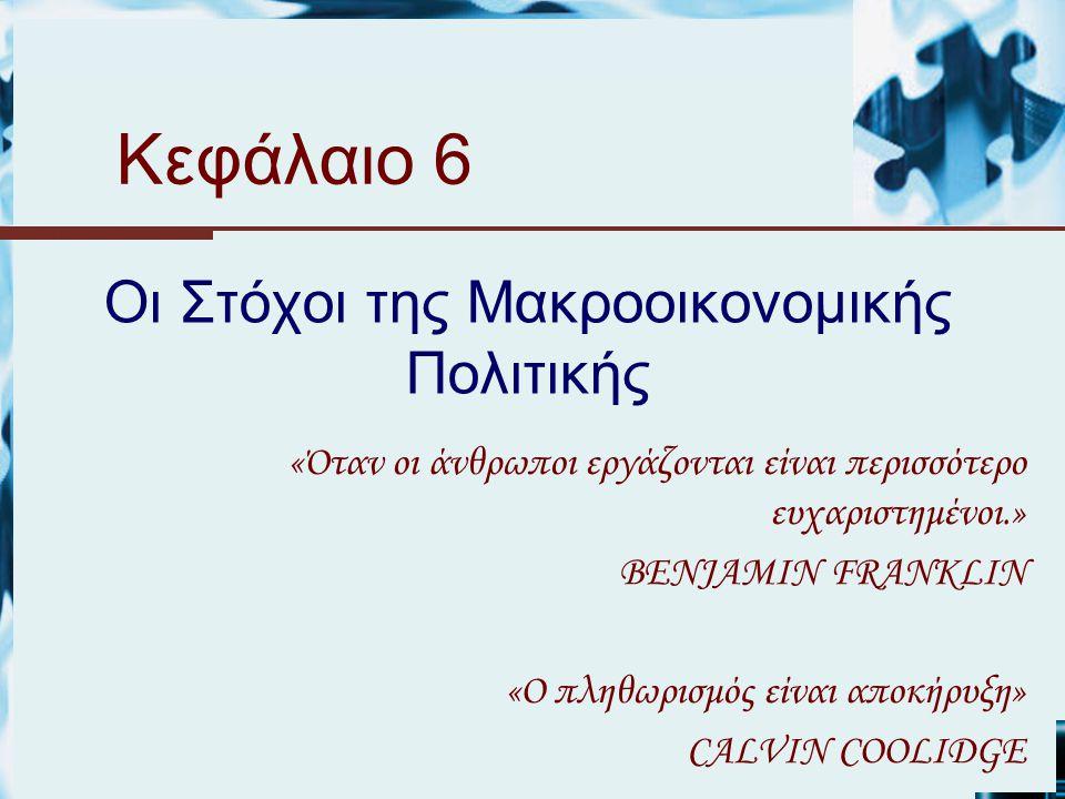 Κεφάλαιο 6 Οι Στόχοι της Μακροοικονομικής Πολιτικής «Όταν οι άνθρωποι εργάζονται είναι περισσότερο ευχαριστημένοι.» BENJAMIN FRANKLIN «Ο πληθωρισμός είναι αποκήρυξη» CALVIN COOLIDGE