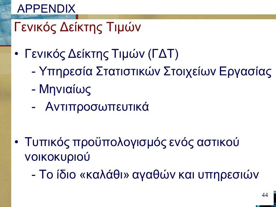 APPENDIX Γενικός Δείκτης Τιμών Γενικός Δείκτης Τιμών (ΓΔΤ) - Υπηρεσία Στατιστικών Στοιχείων Εργασίας - Μηνιαίως -Αντιπροσωπευτικά Τυπικός προϋπολογισμός ενός αστικού νοικοκυριού - Το ίδιο «καλάθι» αγαθών και υπηρεσιών 44