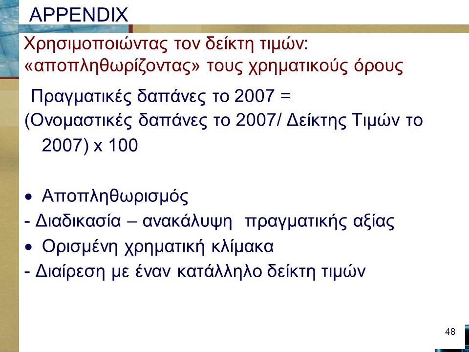 APPENDIX Χρησιμοποιώντας τον δείκτη τιμών: «αποπληθωρίζοντας» τους χρηματικούς όρους Πραγματικές δαπάνες το 2007 = (Ονομαστικές δαπάνες το 2007/ Δείκτης Τιμών το 2007) x 100  Αποπληθωρισμός - Διαδικασία – ανακάλυψη πραγματικής αξίας  Ορισμένη χρηματική κλίμακα - Διαίρεση με έναν κατάλληλο δείκτη τιμών 48