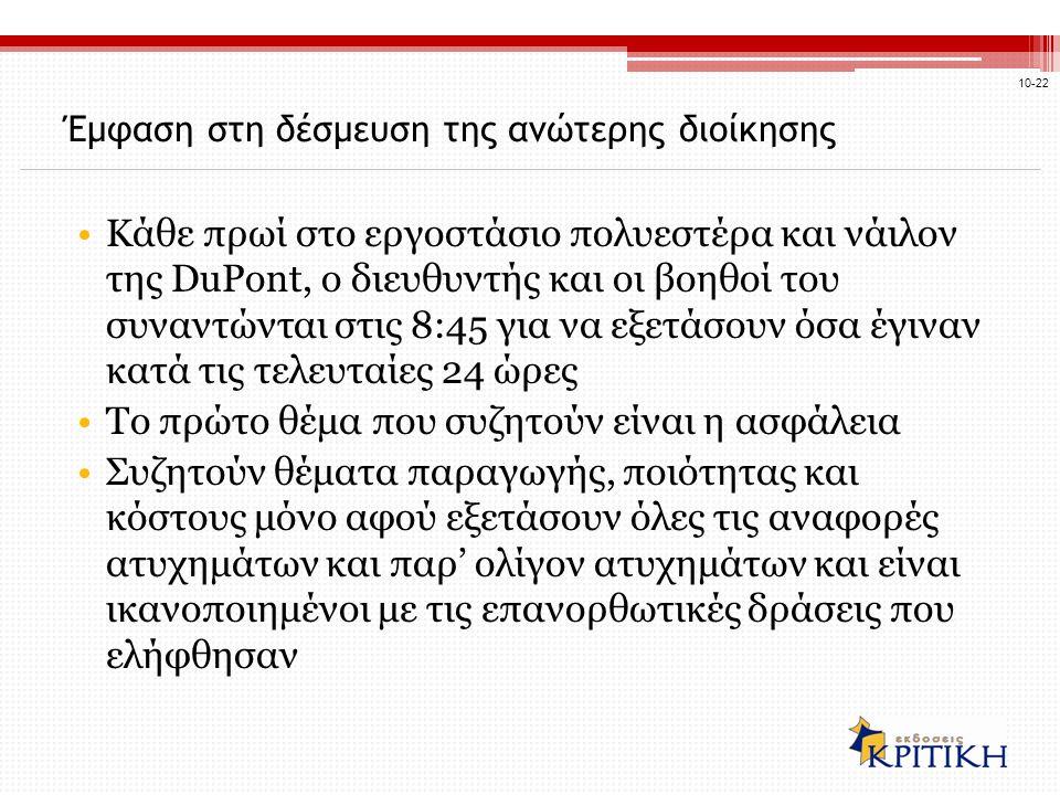 Έμφαση στη δέσμευση της ανώτερης διοίκησης Κάθε πρωί στο εργοστάσιο πολυεστέρα και νάιλον της DuPont, ο διευθυντής και οι βοηθοί του συναντώνται στις