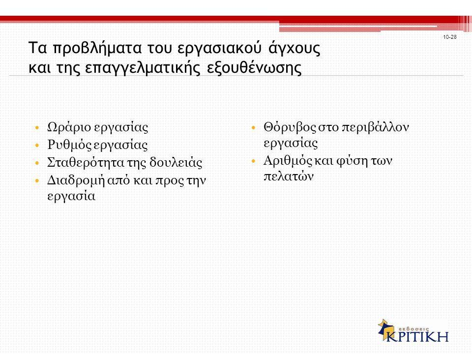 Τα προβλήματα του εργασιακού άγχους και της επαγγελματικής εξουθένωσης Ωράριο εργασίας Ρυθμός εργασίας Σταθερότητα της δουλειάς Διαδρομή από και προς την εργασία Θόρυβος στο περιβάλλον εργασίας Αριθμός και φύση των πελατών 10-28