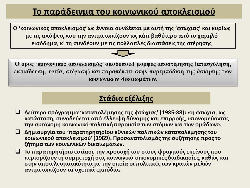  Δεύτερο πρόγραμμα 'καταπολέμησης της φτώχιας' (1985-88): «η φτώχια, ως κατάσταση, συνοδεύεται από έλλειψη δύναμης και επιρροής, υπονομεύοντας την αυτόνομη κοινωνικό-πολιτική παρουσία των ατόμων και των ομάδων».