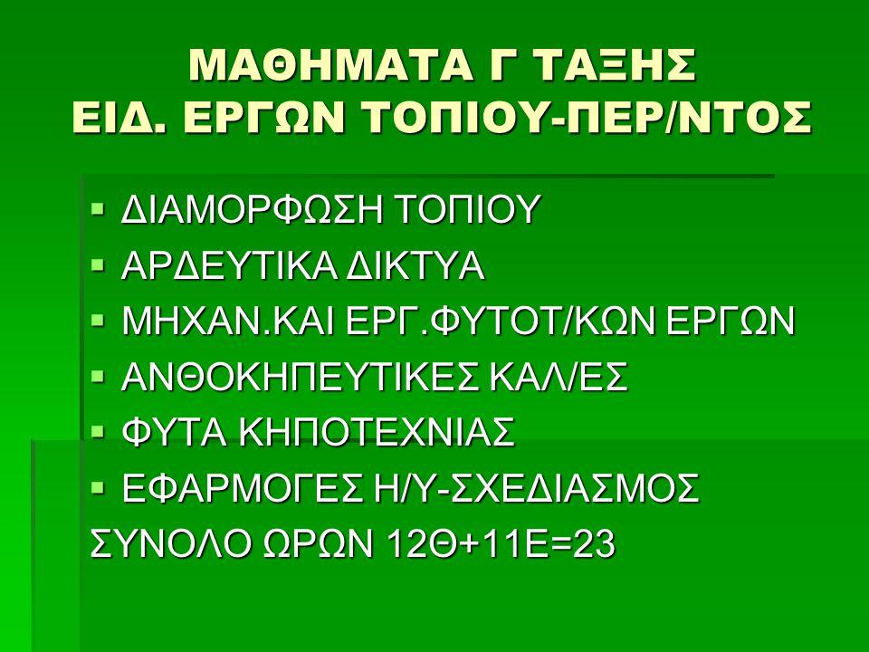 ΜΑΘΗΜΑΤΑ Γ ΤΑΞΗΣ ΕΙΔ.