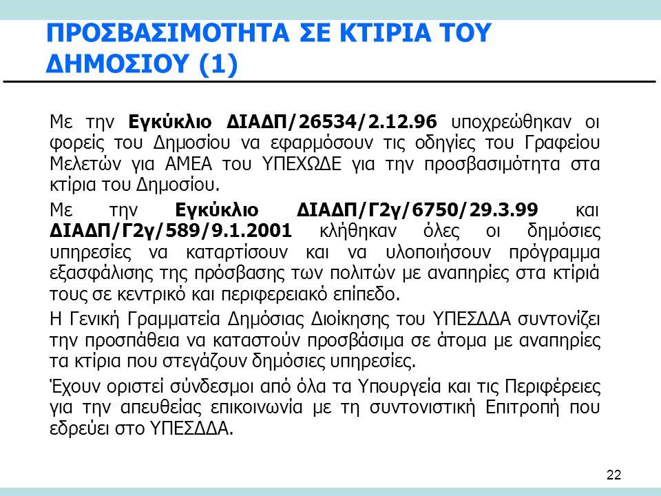 22 ΠΡΟΣΒΑΣΙΜΟΤΗΤΑ ΣΕ ΚΤΙΡΙΑ ΤΟΥ ΔΗΜΟΣΙΟΥ (1) Με την Εγκύκλιο ΔΙΑΔΠ/26534/2.12.96 υποχρεώθηκαν οι φορείς του Δημοσίου να εφαρμόσουν τις οδηγίες του Γρα