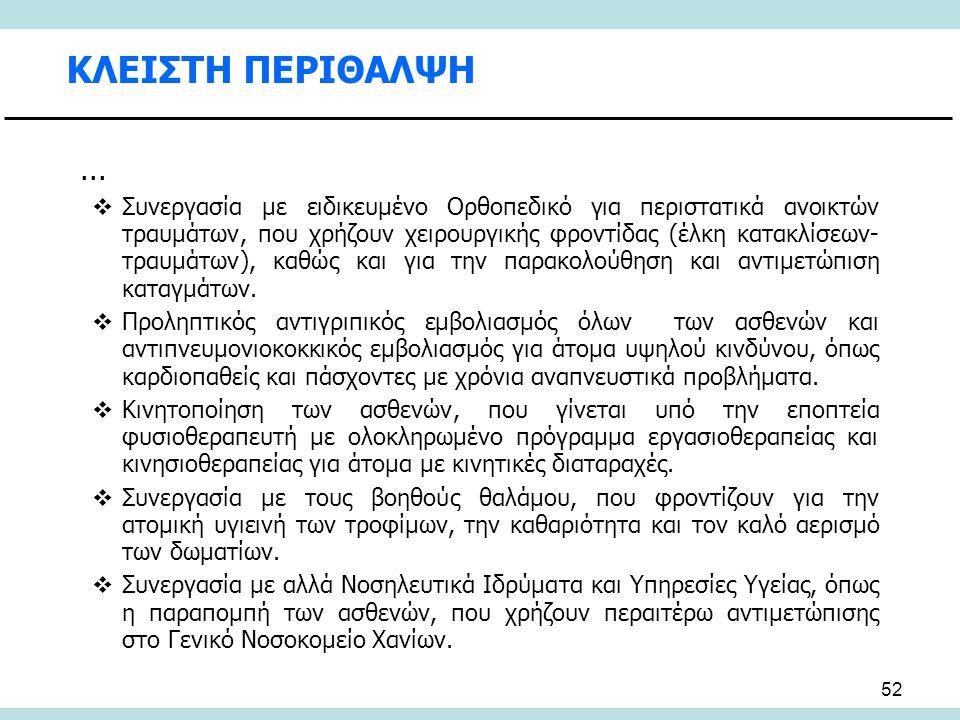 52 ΚΛΕΙΣΤΗ ΠΕΡΙΘΑΛΨΗ...  Συνεργασία με ειδικευμένο Ορθοπεδικό για περιστατικά ανοικτών τραυμάτων, που χρήζουν χειρουργικής φροντίδας (έλκη κατακλίσεω