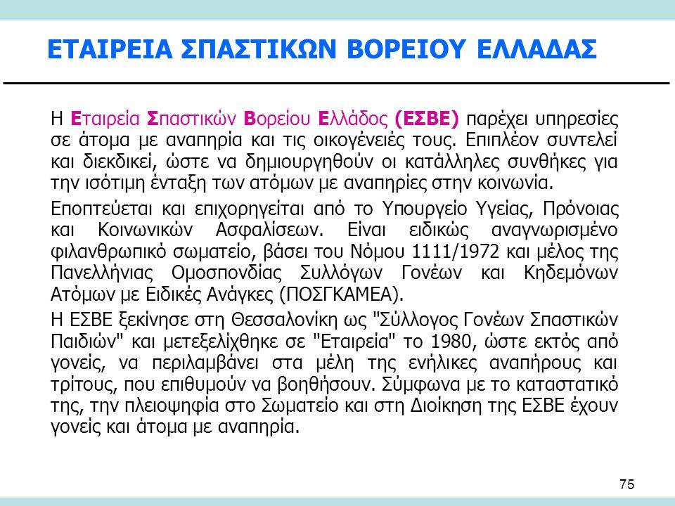 75 ΕΤΑΙΡΕΙΑ ΣΠΑΣΤΙΚΩΝ ΒΟΡΕΙΟΥ ΕΛΛΑΔΑΣ Η Εταιρεία Σπαστικών Βορείου Ελλάδος (ΕΣΒΕ) παρέχει υπηρεσίες σε άτομα με αναπηρία και τις οικογένειές τους. Επι