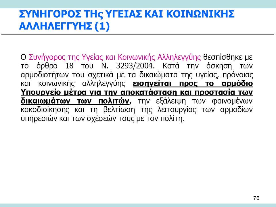 76 ΣΥΝΗΓΟΡΟΣ ΤΗς ΥΓΕΙΑΣ ΚΑΙ ΚΟΙΝΩΝΙΚΗΣ ΑΛΛΗΛΕΓΓΥΗΣ (1) Ο Συνήγορος της Υγείας και Κοινωνικής Αλληλεγγύης θεσπίσθηκε με το άρθρο 18 του Ν. 3293/2004. Κ