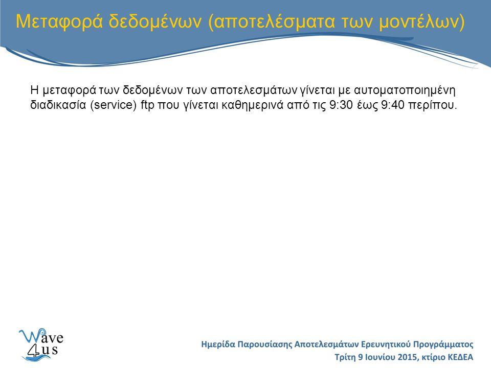 Μεταφορά δεδομένων (αποτελέσματα των μοντέλων) Η μεταφορά των δεδομένων των αποτελεσμάτων γίνεται με αυτοματοποιημένη διαδικασία (service) ftp που γίνεται καθημερινά από τις 9:30 έως 9:40 περίπου.