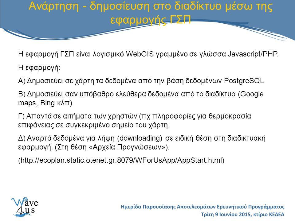 Ανάρτηση - δημοσίευση στο διαδίκτυο μέσω της εφαρμογής ΓΣΠ Η εφαρμογή ΓΣΠ είναι λογισμικό WebGIS γραμμένο σε γλώσσα Javascript/PHP.