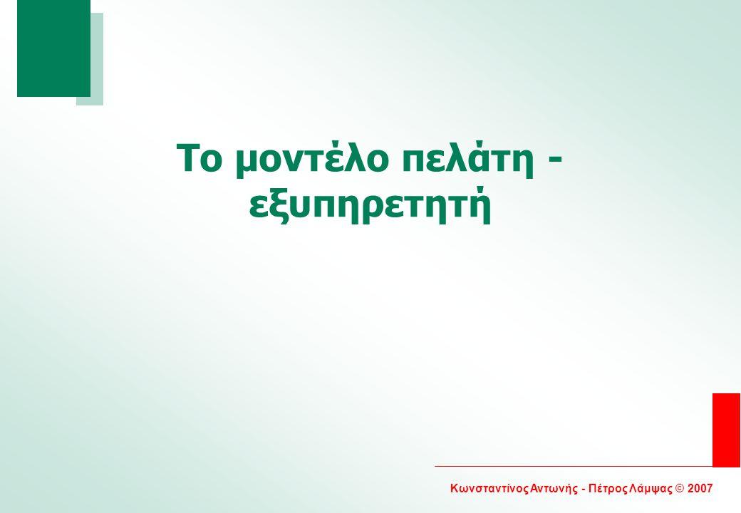 Κωνσταντίνος Αντωνής - Πέτρος Λάμψας © 2007 Το μοντέλο πελάτη - εξυπηρετητή
