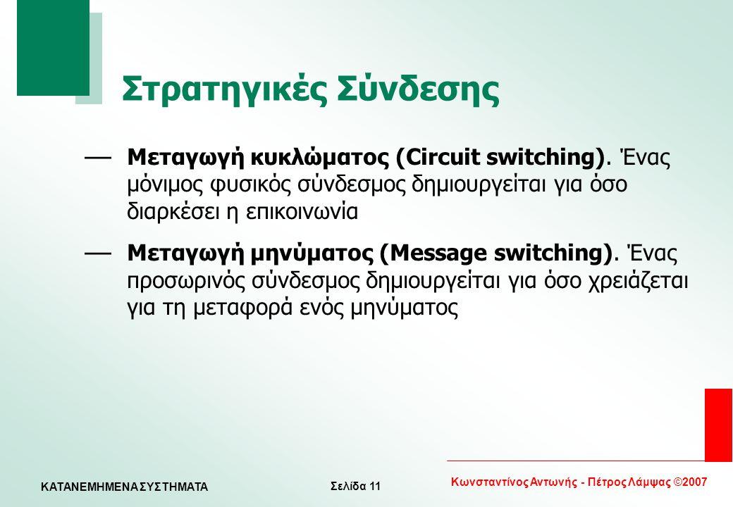 Σελίδα 11 Κωνσταντίνος Αντωνής - Πέτρος Λάμψας ©2007 KATANEMHMENA ΣΥΣΤΗΜΑΤΑ Στρατηγικές Σύνδεσης — Μεταγωγή κυκλώματος (Circuit switching). Ένας μόνιμ