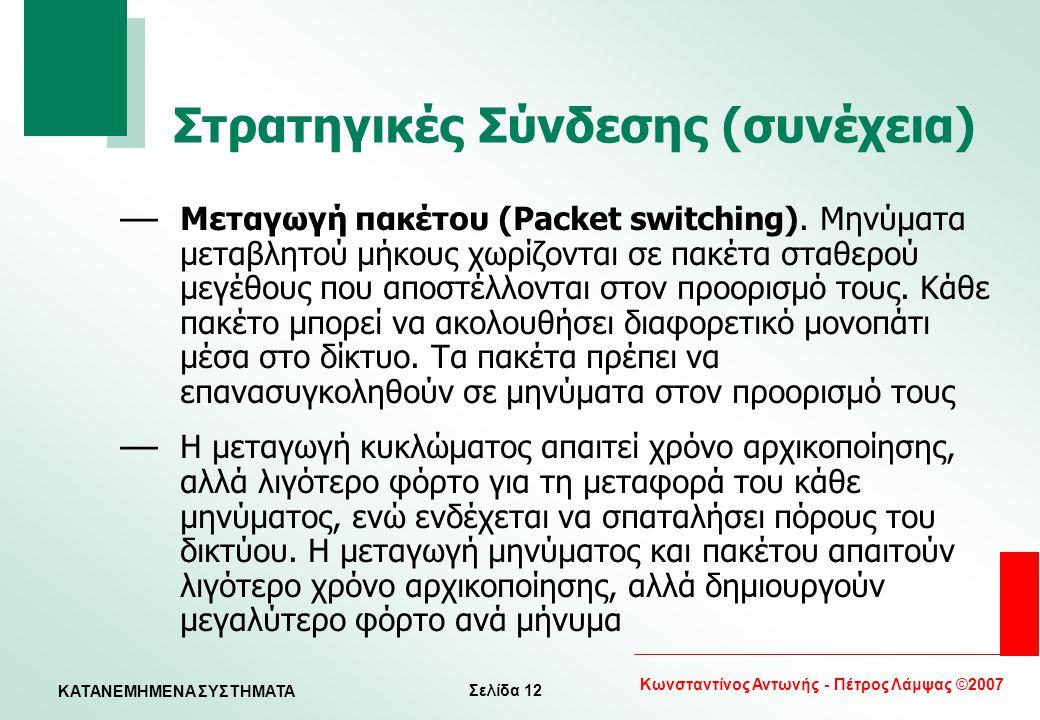 Σελίδα 12 Κωνσταντίνος Αντωνής - Πέτρος Λάμψας ©2007 KATANEMHMENA ΣΥΣΤΗΜΑΤΑ Στρατηγικές Σύνδεσης (συνέχεια) — Μεταγωγή πακέτου (Packet switching). Μην