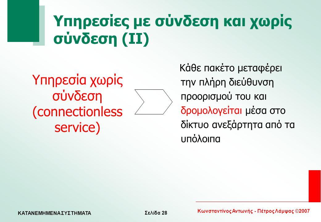 Σελίδα 28 Κωνσταντίνος Αντωνής - Πέτρος Λάμψας ©2007 KATANEMHMENA ΣΥΣΤΗΜΑΤΑ Υπηρεσίες με σύνδεση και χωρίς σύνδεση (II) Κάθε πακέτο μεταφέρει την πλήρ