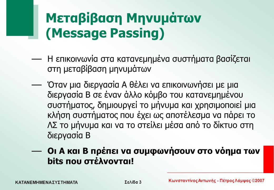 Σελίδα 3 Κωνσταντίνος Αντωνής - Πέτρος Λάμψας ©2007 KATANEMHMENA ΣΥΣΤΗΜΑΤΑ Μεταβίβαση Μηνυμάτων (Message Passing) — Η επικοινωνία στα κατανεμημένα συσ