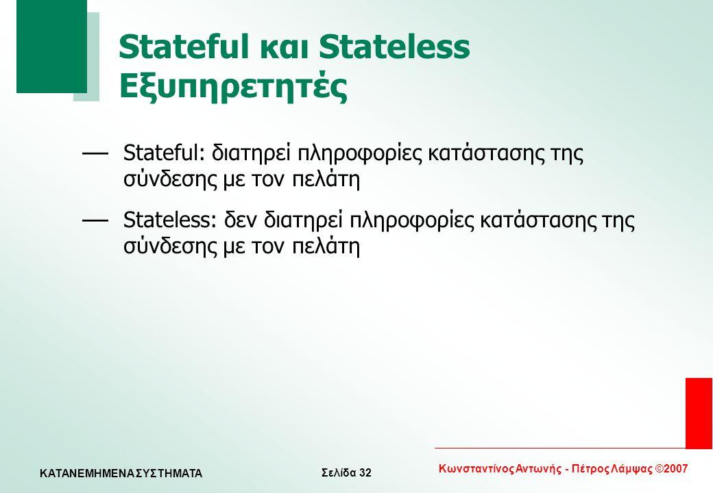 Σελίδα 32 Κωνσταντίνος Αντωνής - Πέτρος Λάμψας ©2007 KATANEMHMENA ΣΥΣΤΗΜΑΤΑ Stateful και Stateless Εξυπηρετητές — Stateful: διατηρεί πληροφορίες κατάσ