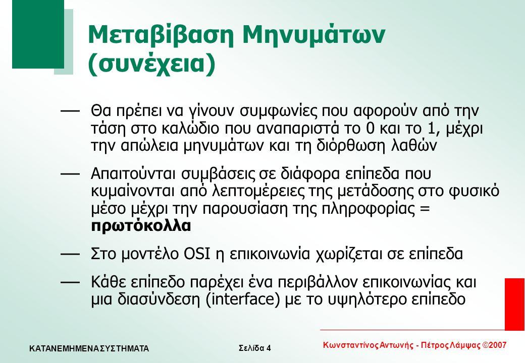 Σελίδα 4 Κωνσταντίνος Αντωνής - Πέτρος Λάμψας ©2007 KATANEMHMENA ΣΥΣΤΗΜΑΤΑ Μεταβίβαση Μηνυμάτων (συνέχεια) — Θα πρέπει να γίνουν συμφωνίες που αφορούν