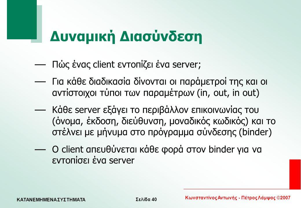 Σελίδα 40 Κωνσταντίνος Αντωνής - Πέτρος Λάμψας ©2007 KATANEMHMENA ΣΥΣΤΗΜΑΤΑ Δυναμική Διασύνδεση — Πώς ένας client εντοπίζει ένα server; — Για κάθε δια