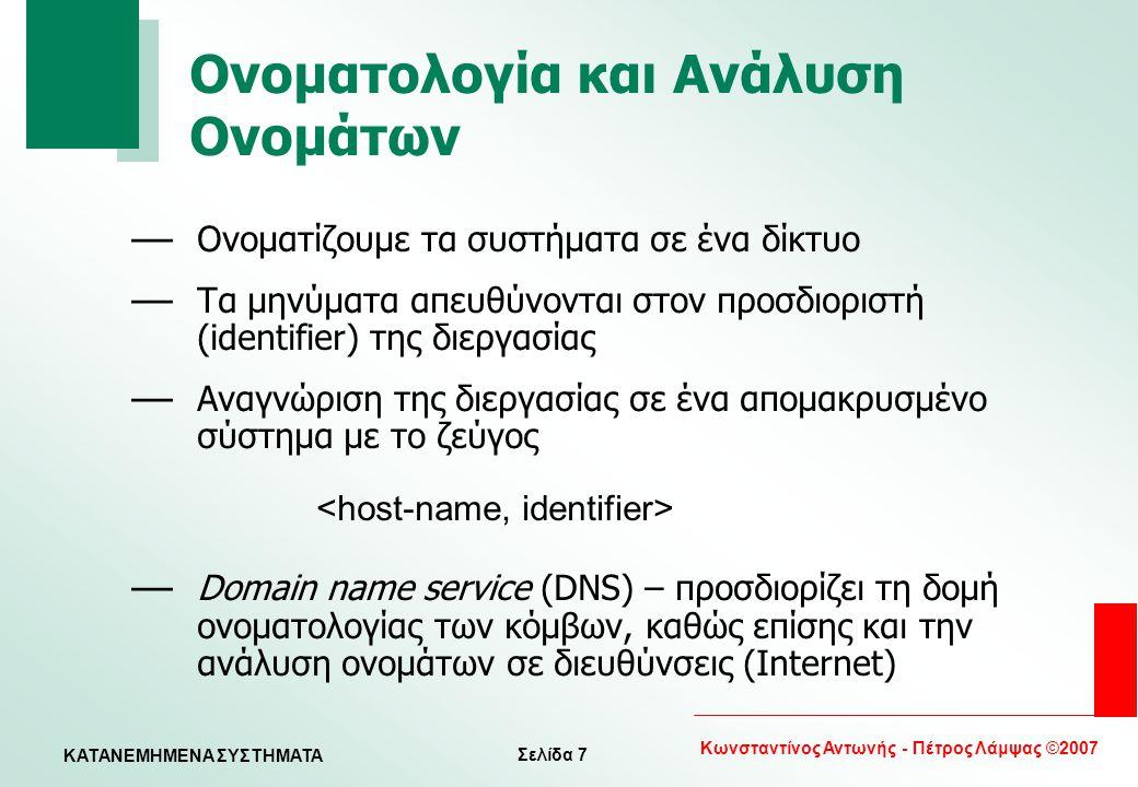 Σελίδα 7 Κωνσταντίνος Αντωνής - Πέτρος Λάμψας ©2007 KATANEMHMENA ΣΥΣΤΗΜΑΤΑ Ονοματολογία και Ανάλυση Ονομάτων — Ονοματίζουμε τα συστήματα σε ένα δίκτυο