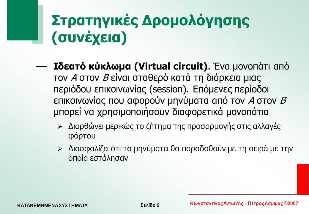 Σελίδα 9 Κωνσταντίνος Αντωνής - Πέτρος Λάμψας ©2007 KATANEMHMENA ΣΥΣΤΗΜΑΤΑ Στρατηγικές Δρομολόγησης (συνέχεια) — Ιδεατό κύκλωμα (Virtual circuit). Ένα