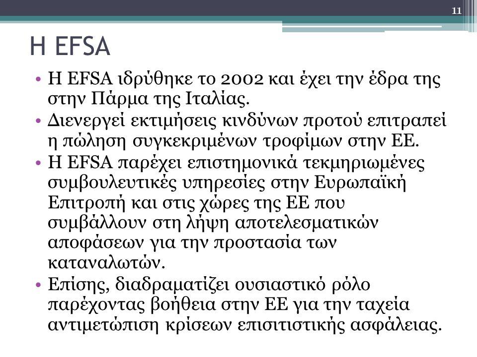 Η EFSA Η EFSA ιδρύθηκε το 2002 και έχει την έδρα της στην Πάρμα της Ιταλίας. Διενεργεί εκτιμήσεις κινδύνων προτού επιτραπεί η πώληση συγκεκριμένων τρο
