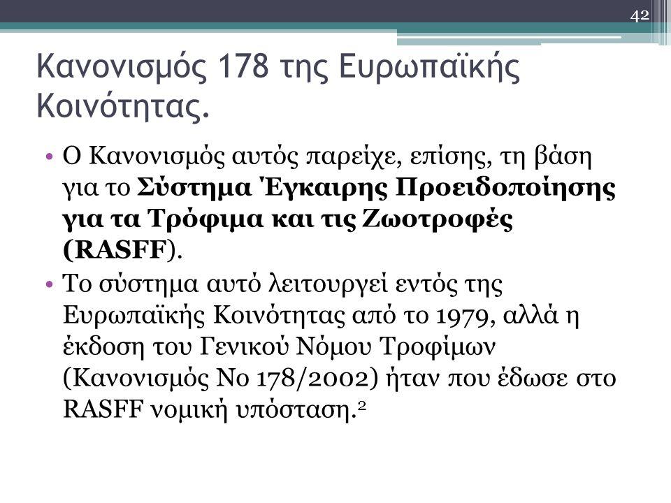 Κανονισμός 178 της Ευρωπαϊκής Κοινότητας. Ο Κανονισμός αυτός παρείχε, επίσης, τη βάση για το Σύστημα Έγκαιρης Προειδοποίησης για τα Τρόφιμα και τις Ζω