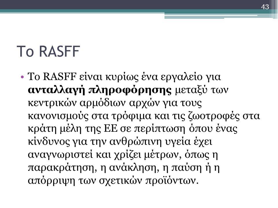 Το RASFF Το RASFF είναι κυρίως ένα εργαλείο για ανταλλαγή πληροφόρησης μεταξύ των κεντρικών αρμόδιων αρχών για τους κανονισμούς στα τρόφιμα και τις ζω