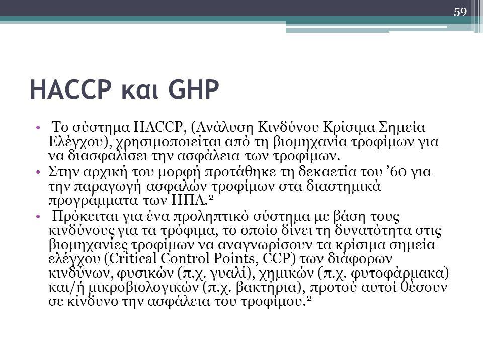 HACCP και GHP Το σύστημα HACCP, (Ανάλυση Κινδύνου Κρίσιμα Σημεία Ελέγχου), χρησιμοποιείται από τη βιομηχανία τροφίμων για να διασφαλίσει την ασφάλεια
