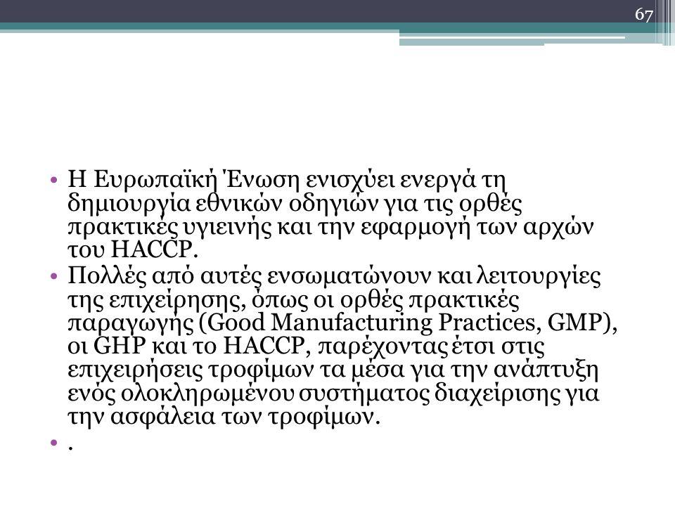Η Ευρωπαϊκή Ένωση ενισχύει ενεργά τη δημιουργία εθνικών οδηγιών για τις ορθές πρακτικές υγιεινής και την εφαρμογή των αρχών του HACCP. Πολλές από αυτέ