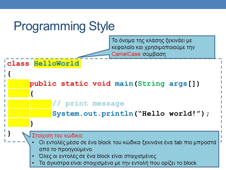 """Programming Style class HelloWorld { public static void main(String args[]) { // print message System.out.println(""""Hello world!""""); } Το όνομα της κλάσ"""