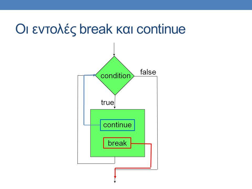 Οι εντολές break και continue continue break condition false true