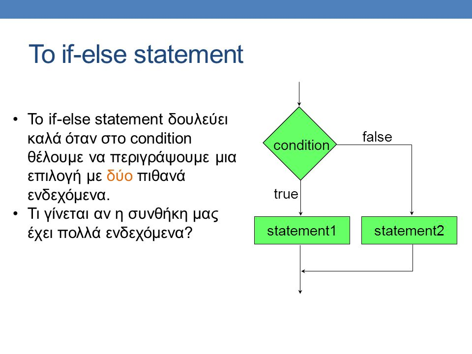 Το if-else statement statement1 condition false true statement2 Το if-else statement δουλεύει καλά όταν στο condition θέλουμε να περιγράψουμε μια επιλογή με δύο πιθανά ενδεχόμενα.