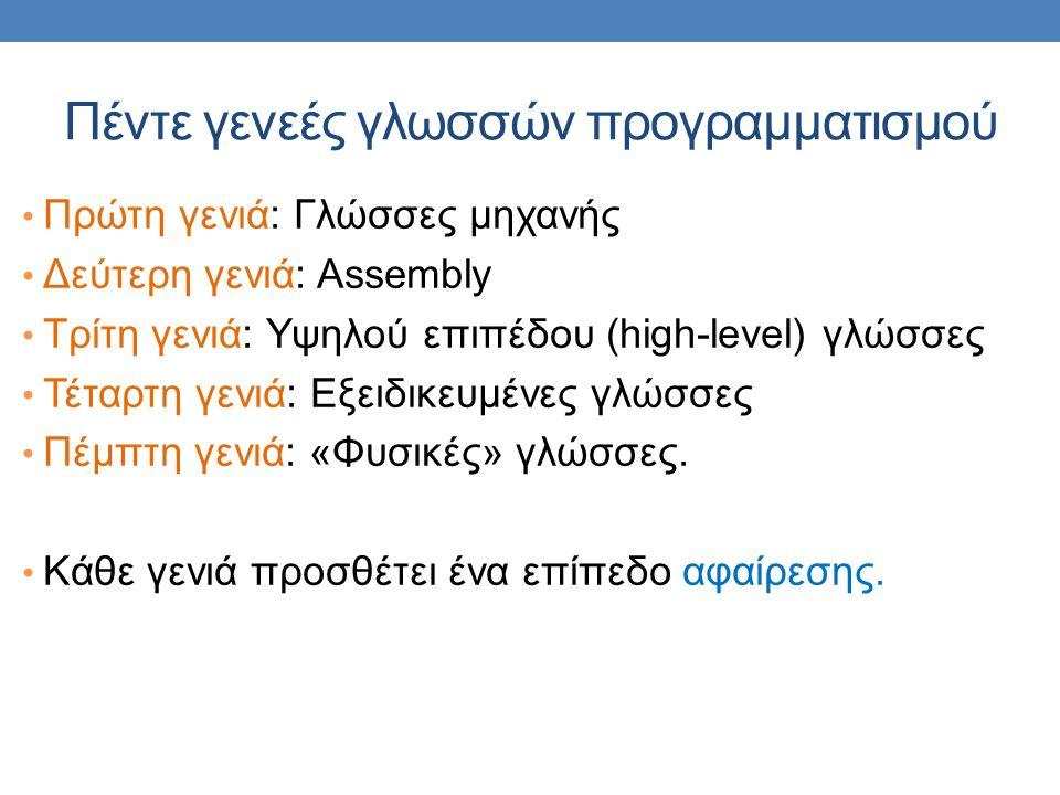 Πέντε γενεές γλωσσών προγραμματισμού Πρώτη γενιά: Γλώσσες μηχανής Δεύτερη γενιά: Assembly Τρίτη γενιά: Υψηλού επιπέδου (high-level) γλώσσες Τέταρτη γενιά: Εξειδικευμένες γλώσσες Πέμπτη γενιά: «Φυσικές» γλώσσες.