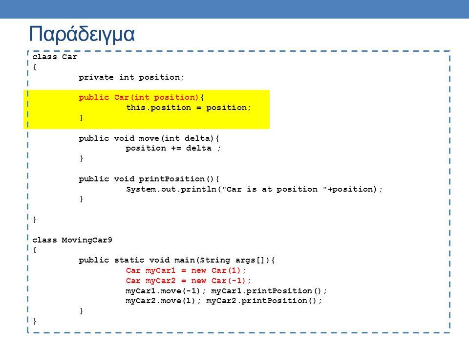 Παράδειγμα class Car { private int position; public Car(int position){ this.position = position; } public void move(int delta){ position += delta ; }