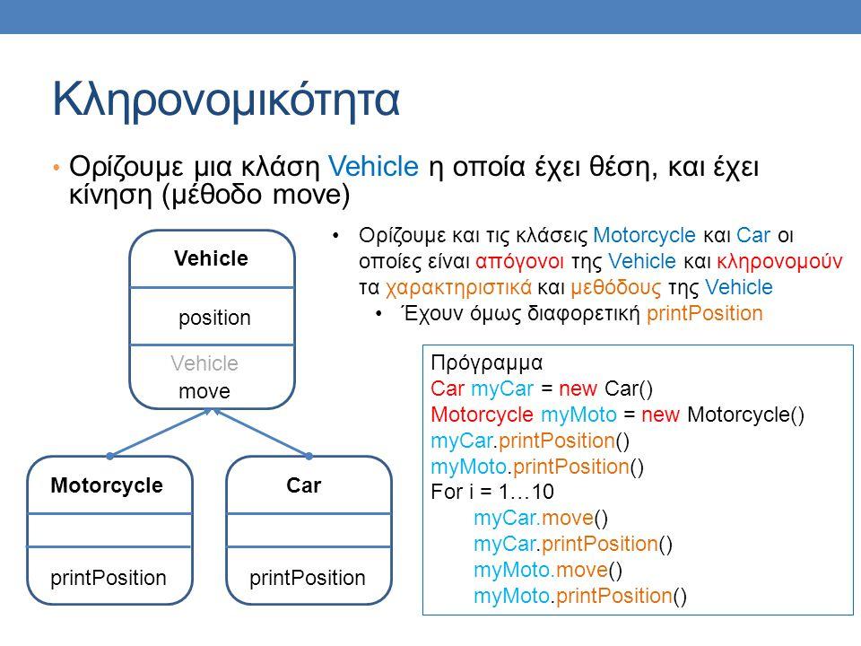 Κληρονομικότητα Ορίζουμε μια κλάση Vehicle η οποία έχει θέση, και έχει κίνηση (μέθοδο move) Car printPosition Πρόγραμμα Car myCar = new Car() Motorcycle myMoto = new Motorcycle() myCar.printPosition() myMoto.printPosition() For i = 1…10 myCar.move() myCar.printPosition() myMoto.move() myMoto.printPosition() Vehicle position move Vehicle Motorcycle printPosition Ορίζουμε και τις κλάσεις Motorcycle και Car οι οποίες είναι απόγονοι της Vehicle και κληρονομούν τα χαρακτηριστικά και μεθόδους της Vehicle Έχουν όμως διαφορετική printPosition