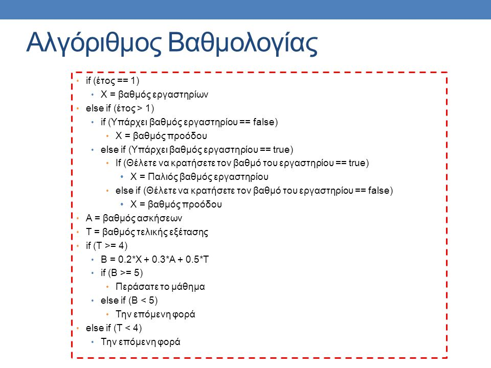 Αλγόριθμος Βαθμολογίας if (έτος == 1) X = βαθμός εργαστηρίων else if (έτος > 1) if (Υπάρχει βαθμός εργαστηρίου == false) X = βαθμός προόδου else if (Υπάρχει βαθμός εργαστηρίου == true) If (Θέλετε να κρατήσετε τον βαθμό του εργαστηρίου == true) X = Παλιός βαθμός εργαστηρίου else if (Θέλετε να κρατήσετε τον βαθμό του εργαστηρίου == false) X = βαθμός προόδου Α = βαθμός ασκήσεων Τ = βαθμός τελικής εξέτασης if (T >= 4) B = 0.2*X + 0.3*A + 0.5*T if (B >= 5) Περάσατε το μάθημα else if (B < 5) Την επόμενη φορά else if (T < 4) Την επόμενη φορά