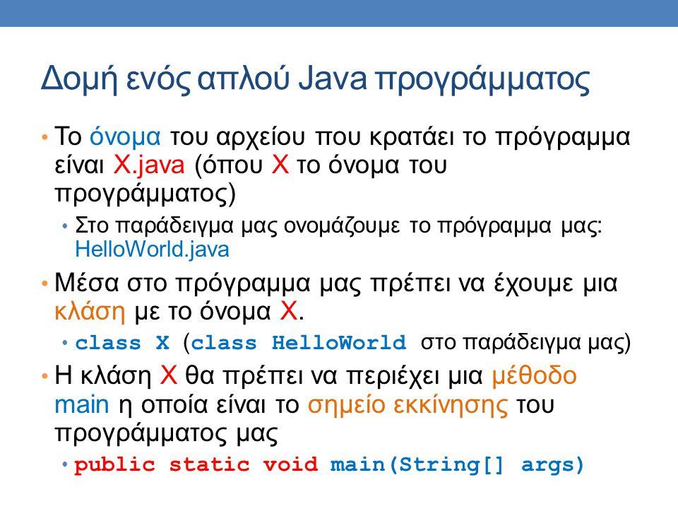 Δομή ενός απλού Java προγράμματος To όνομα του αρχείου που κρατάει το πρόγραμμα είναι X.java (όπου Χ το όνομα του προγράμματος) Στο παράδειγμα μας ονομάζουμε το πρόγραμμα μας: HelloWorld.java Μέσα στο πρόγραμμα μας πρέπει να έχουμε μια κλάση με το όνομα Χ.
