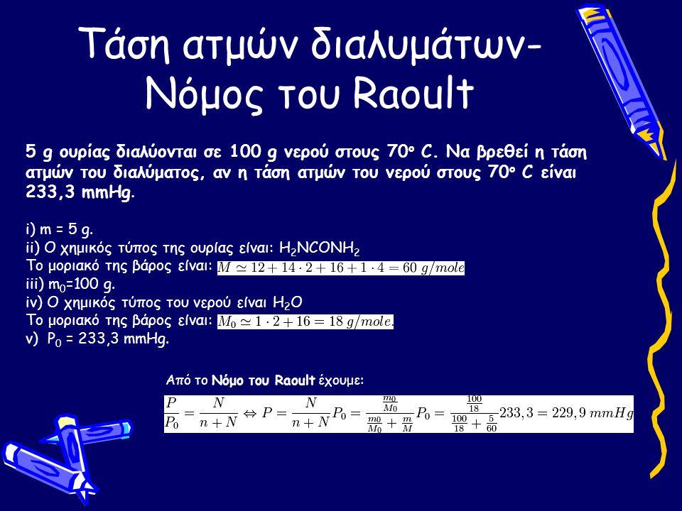 Τάση ατμών διαλυμάτων- Νόμος του Raoult 5 g ουρίας διαλύονται σε 100 g νερού στους 70 o C. Να βρεθεί η τάση ατμών του διαλύματος, αν η τάση ατμών του