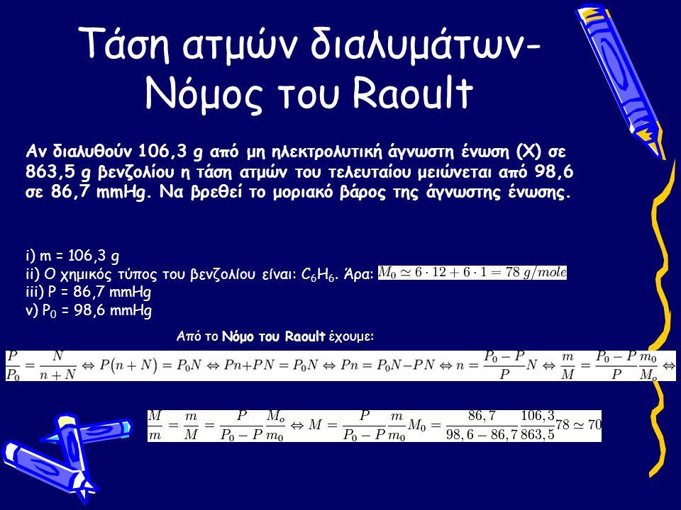 Τάση ατμών διαλυμάτων- Νόμος του Raoult Αν διαλυθούν 106,3 g από μη ηλεκτρολυτική άγνωστη ένωση (Χ) σε 863,5 g βενζολίου η τάση ατμών του τελευταίου μ