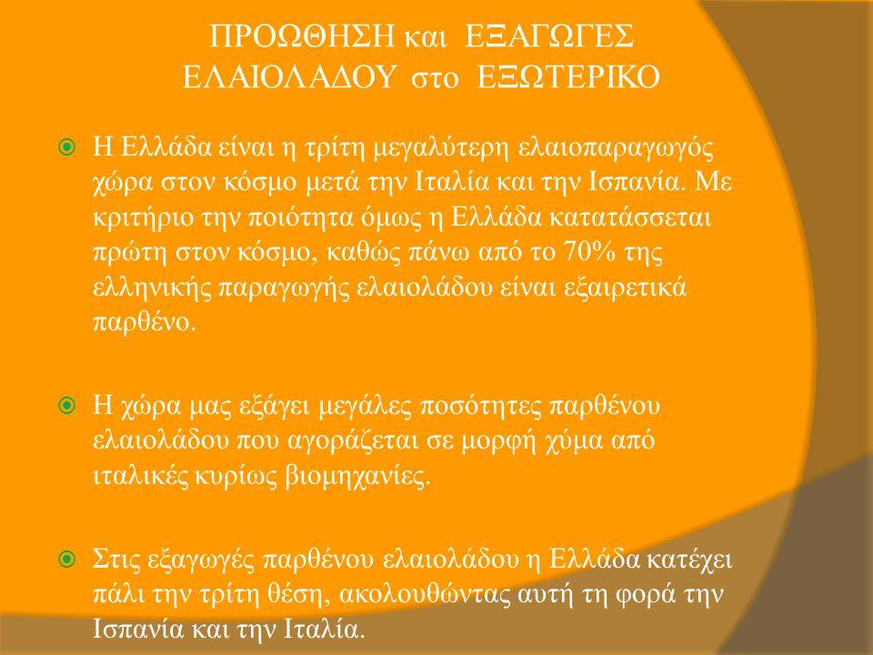 ΠΡΟΩΘΗΣΗ και ΕΞΑΓΩΓΕΣ ΕΛΑΙΟΛΑΔΟΥ στο ΕΞΩΤΕΡΙΚΟ  Η Ελλάδα είναι η τρίτη μεγαλύτερη ελαιοπαραγωγός χώρα στον κόσμο μετά την Ιταλία και την Ισπανία. Με