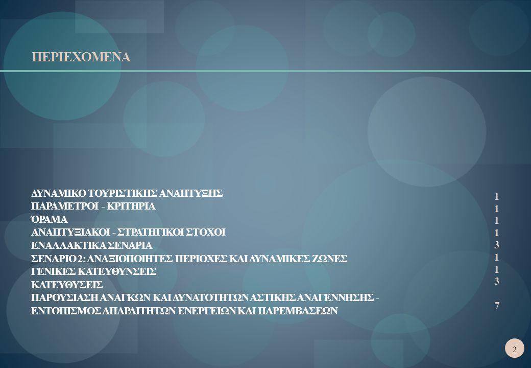 ΠΕΡΙΕΧΟΜΕΝΑ ΔΥΝΑΜΙΚΟ ΤΟΥΡΙΣΤΙΚΗΣ ΑΝΑΠΤΥΞΗΣ ΠΑΡΑΜΕΤΡΟΙ - ΚΡΙΤΗΡΙΑ ΌΡΑΜΑ ΑΝΑΠΤΥΞΙΑΚΟΙ - ΣΤΡΑΤΗΓΙΚΟΙ ΣΤΟΧΟΙ ΕΝΑΛΛΑΚΤΙΚΑ ΣΕΝΑΡΙΑ ΣΕΝΑΡΙΟ 2: ΑΝΑΞΙΟΠΟΙΗΤΕΣ