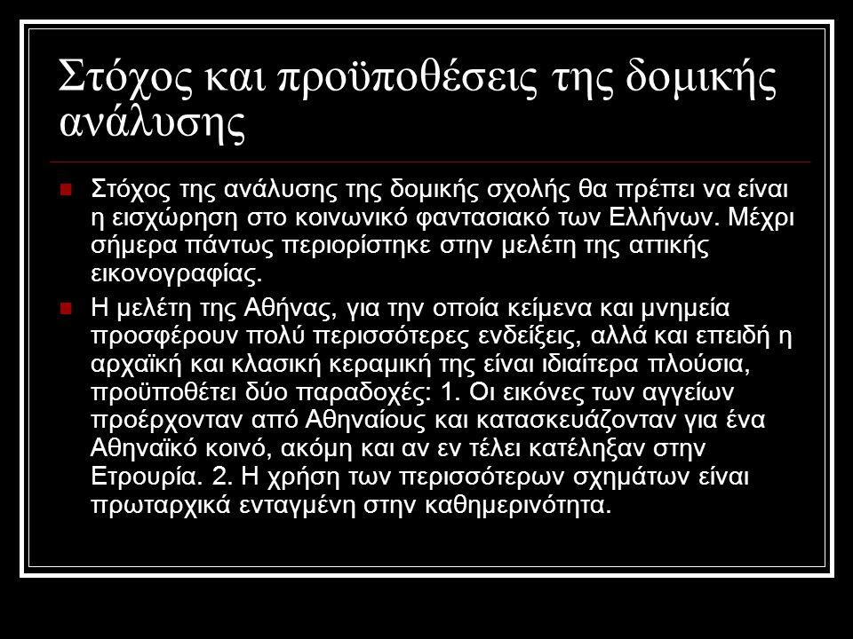 Στόχος και προϋποθέσεις της δομικής ανάλυσης Στόχος της ανάλυσης της δομικής σχολής θα πρέπει να είναι η εισχώρηση στο κοινωνικό φαντασιακό των Ελλήνων.