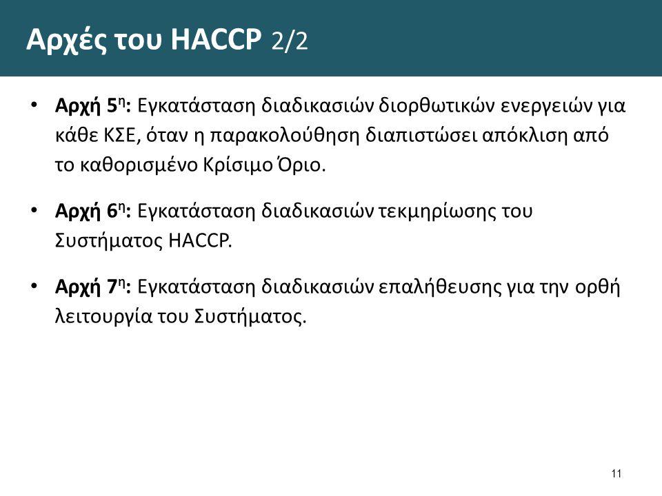 Αρχές του HACCP 2/2 Αρχή 5 η : Εγκατάσταση διαδικασιών διορθωτικών ενεργειών για κάθε ΚΣΕ, όταν η παρακολούθηση διαπιστώσει απόκλιση από το καθορισμένο Κρίσιμο Όριο.