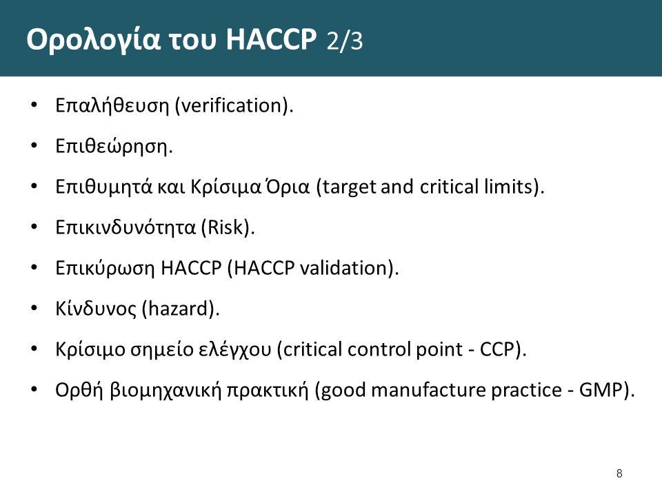 Ορολογία του HACCP 2/3 Επαλήθευση (verification).Επιθεώρηση.