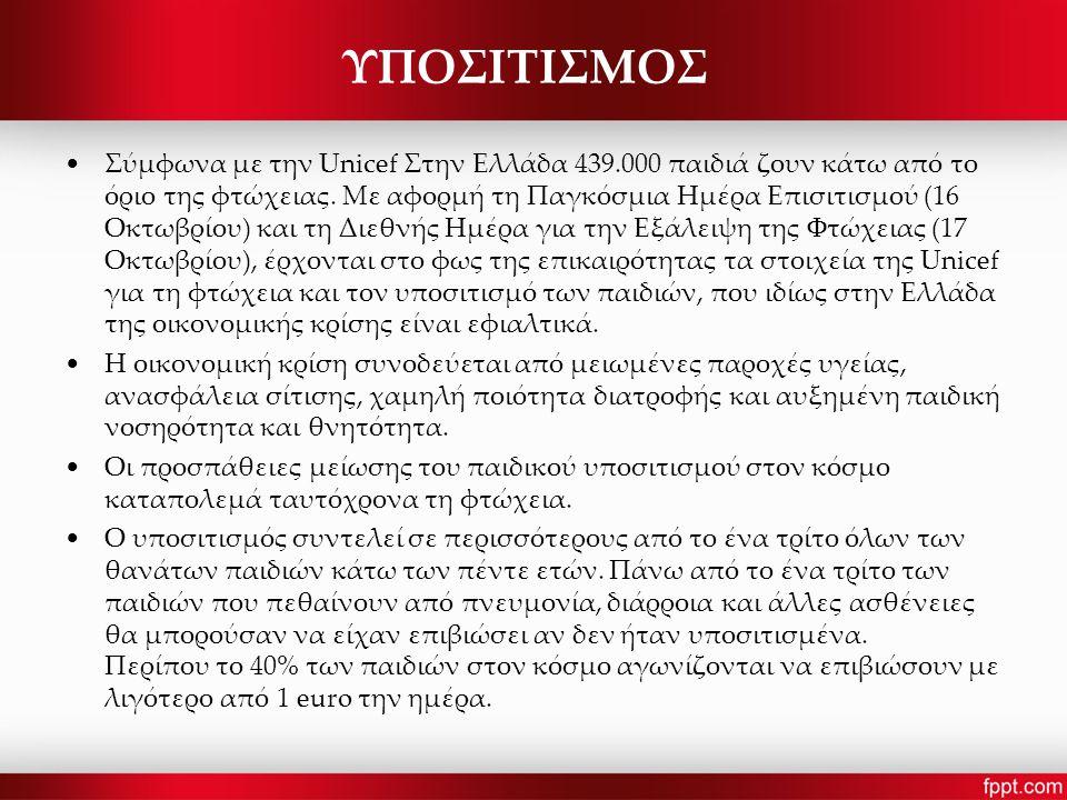 ΥΠΟΣΙΤΙΣΜΟΣ Σύμφωνα με την Unicef Στην Ελλάδα 439.000 παιδιά ζουν κάτω από το όριο της φτώχειας.